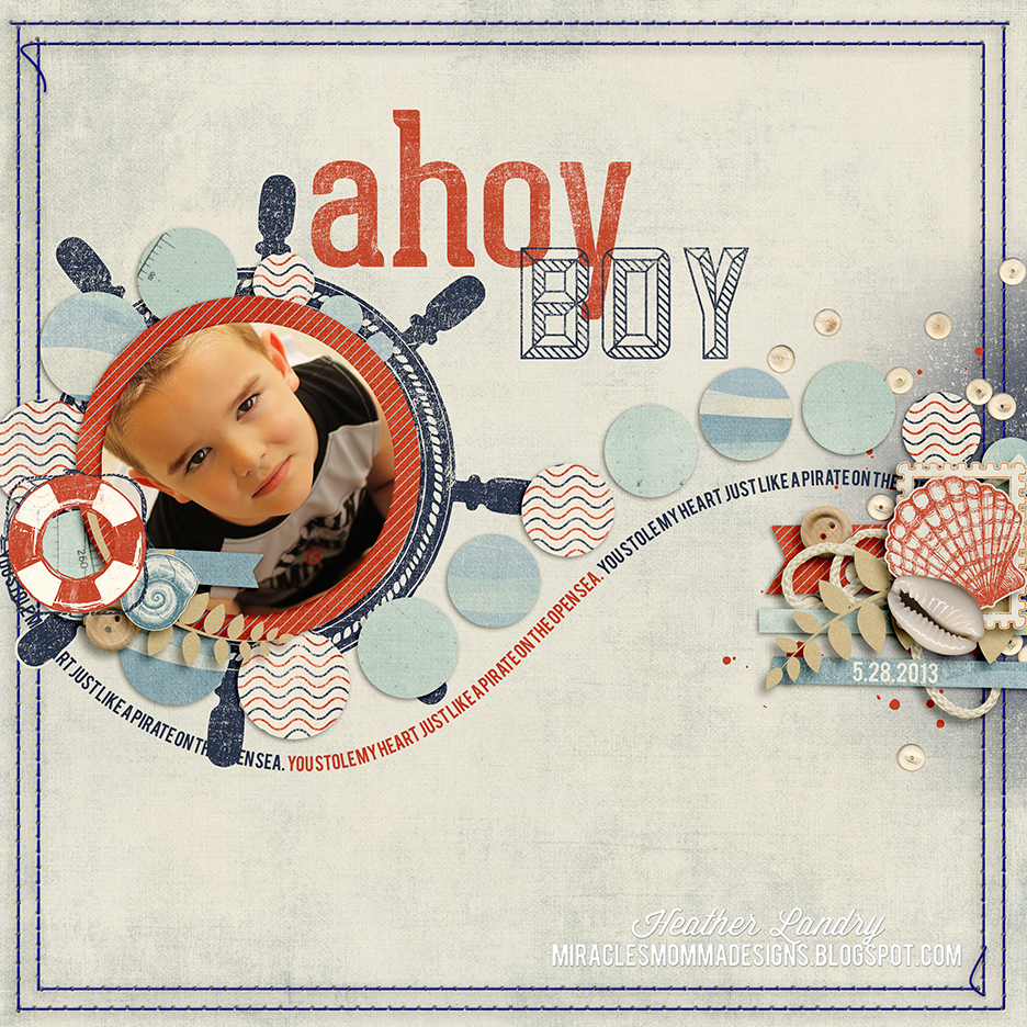 Miracles Momma Designs Ahoy Boy Nautical Scrapbook Page