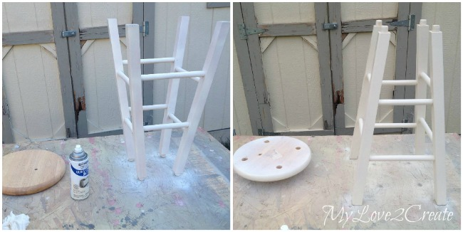 Spray painting stool bottom