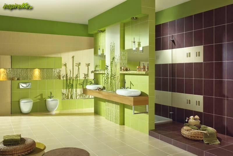 Baños Verde Con Beige:baño moderno con paredes en verde manzana y suelo de cerámica beige