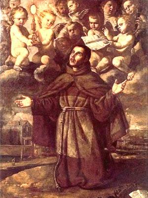 En la Imagen San Pascual Bailon arrodillado y rodeado de angeles