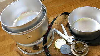 full trangia cooking system shown with super light pots and pans