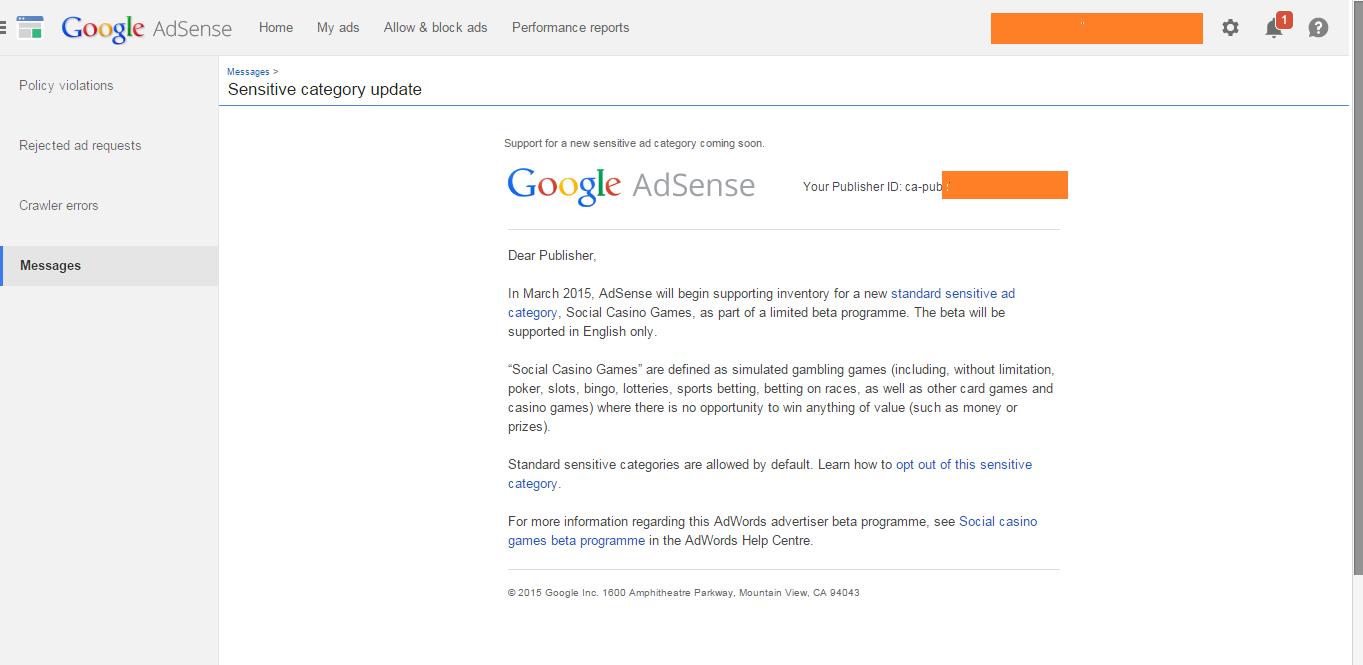 Google Adsense New Sensitive AD Category Coming Soon