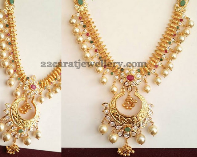 Pearl Hanging Chandbali Necklace