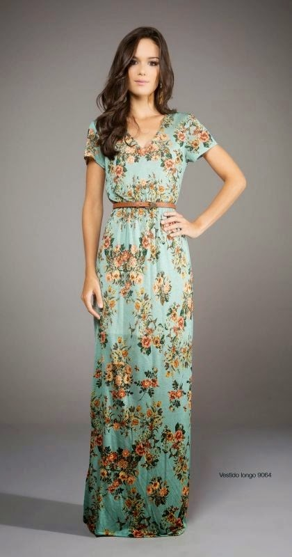 Adorable Green and Flower Stripped Long Women Dress