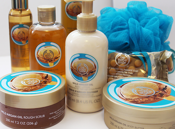 review overview the body shop argan oil collection body butter oil rough scrub lotion bubble bath massage soap bar blog