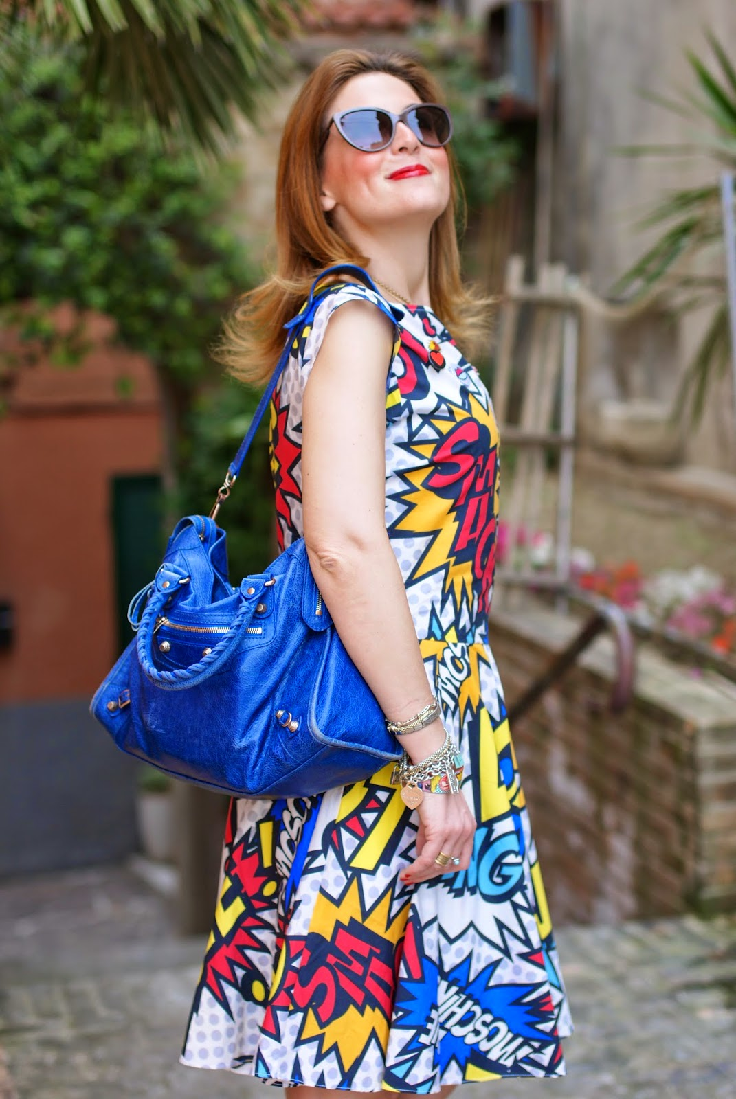 Love Moschino comics dress, Moschino sunglasses, Balenciaga city blue, Fashion and Cookies, fashion blogger