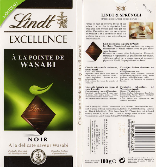 tablette de chocolat noir gourmand lindt excellence à la pointe de wasabi