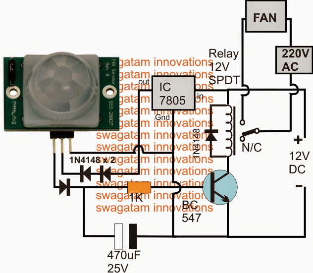 How to Build a Automatic PIR Controlled Fan Circuit for Schools and Colleges