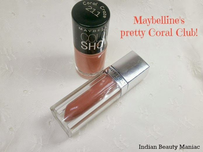 Maybelline color sensational lip polish in Glam 7 and color show nail polish in coral craze