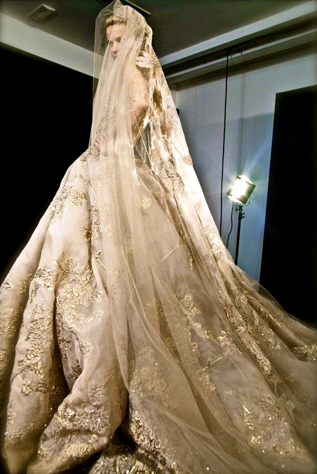 Lamb blonde wedding wednesday elie saab aw 2012 for Golden dresses for a wedding