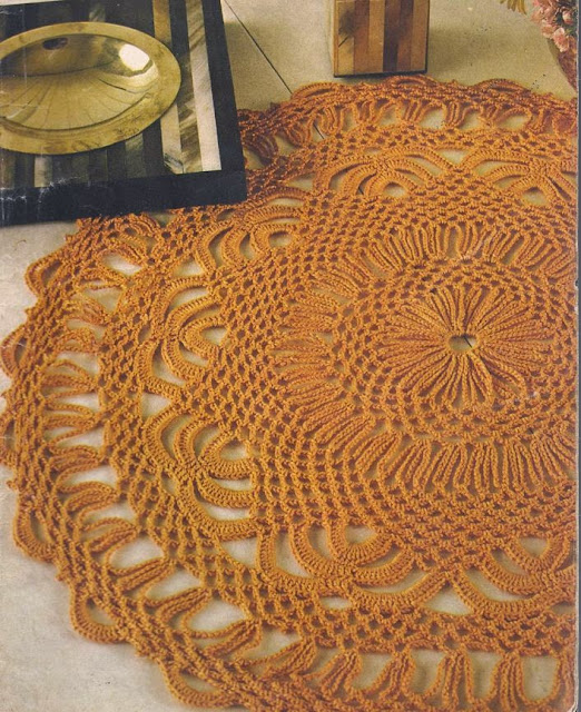 Tapete Naranja a Crochet o Ganchillo