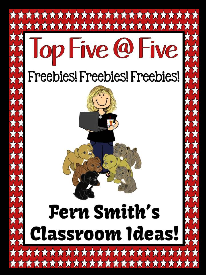 Fern Smith's Classroom Ideas - July 27 - The Top Five at Five Most Popular Posts of the Week Including the Weekly Freebies at Fern Smith's Classroom Ideas