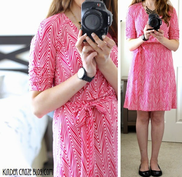 Stitch Fix pink Anabelle 3/4 Abstract Chevron Belted Dress from 41Hawthorn paired with flats and a black bubble necklace