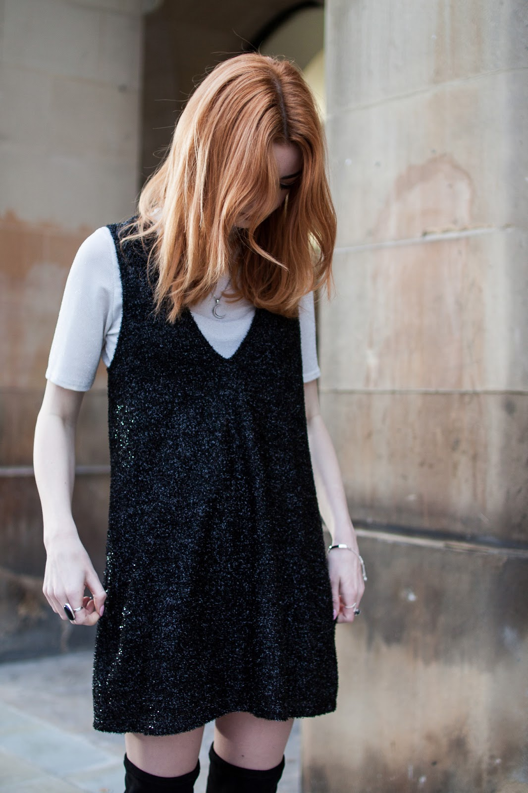 black tinsel dress