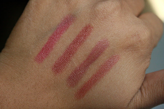 Neutrogena MoistureSmooth Color Stick in Berry Bright, Rich Raisin, Plum Perfect, Soft Raspberry Swatches