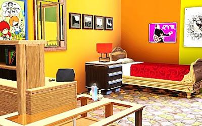 diseño dormitorio adolescente amarillo