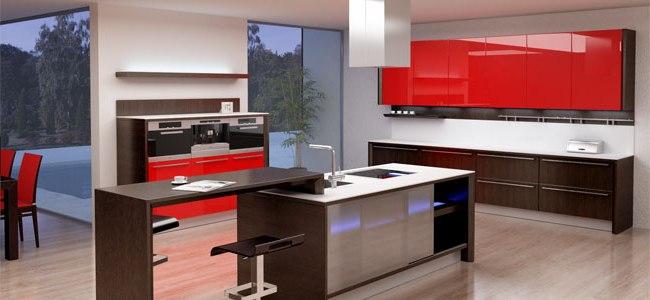 Wengu y rojo perfectos para una cocina c lida y familiar for Cocinas wengue y blanco
