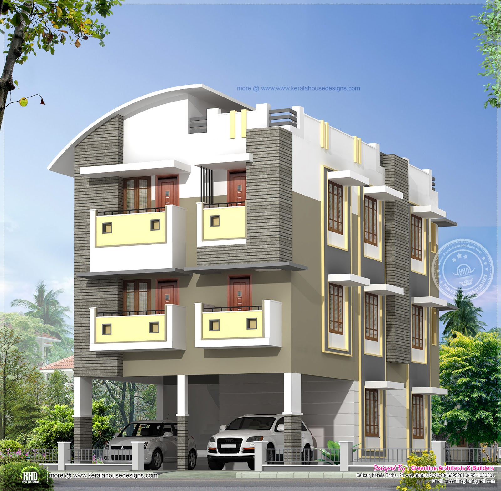 3 Story Home Design In 3630 Kerala Home Dezign
