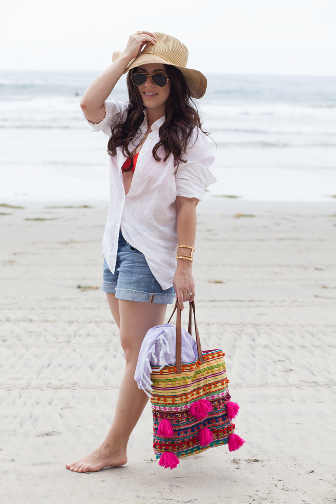 ray ban aviators, tropical trends beach hat, asos beach tote, jcrew linen shirt