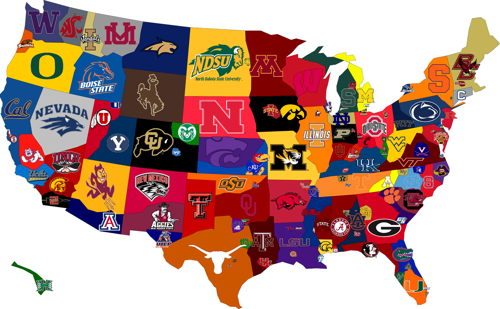Map Of The Country, Broken Down By College Football Fandom, Will