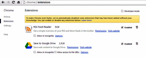 Extensions page under Settings in Chrome