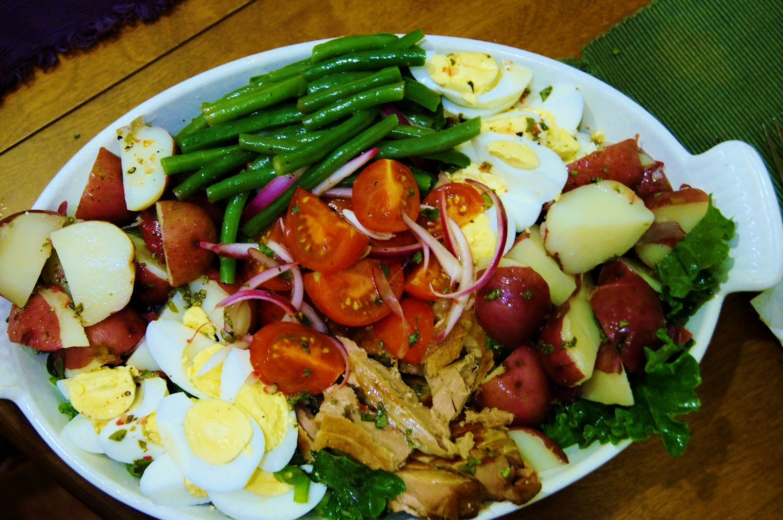 ... salad is not your typical light fare salad nicoise is a mixture of