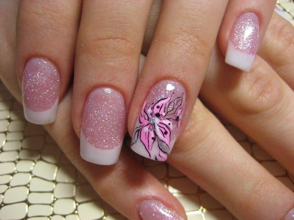 Nail Art Natural Nail Designs Color Combination Of Pink And White