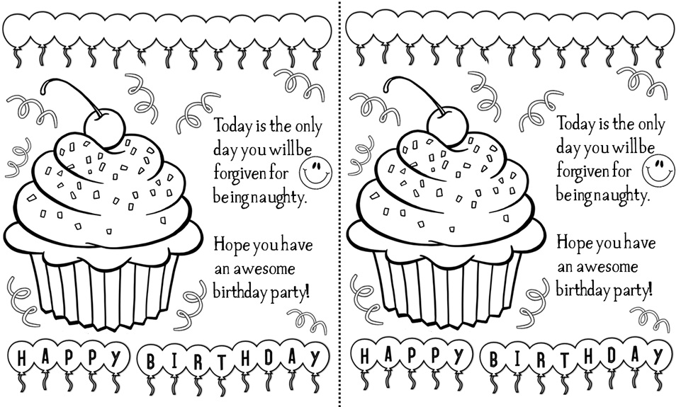 Sweet image inside black and white printable birthday cards