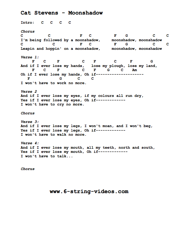 Guitar Tabs: Lyrics And Chords For: Moon Shadow