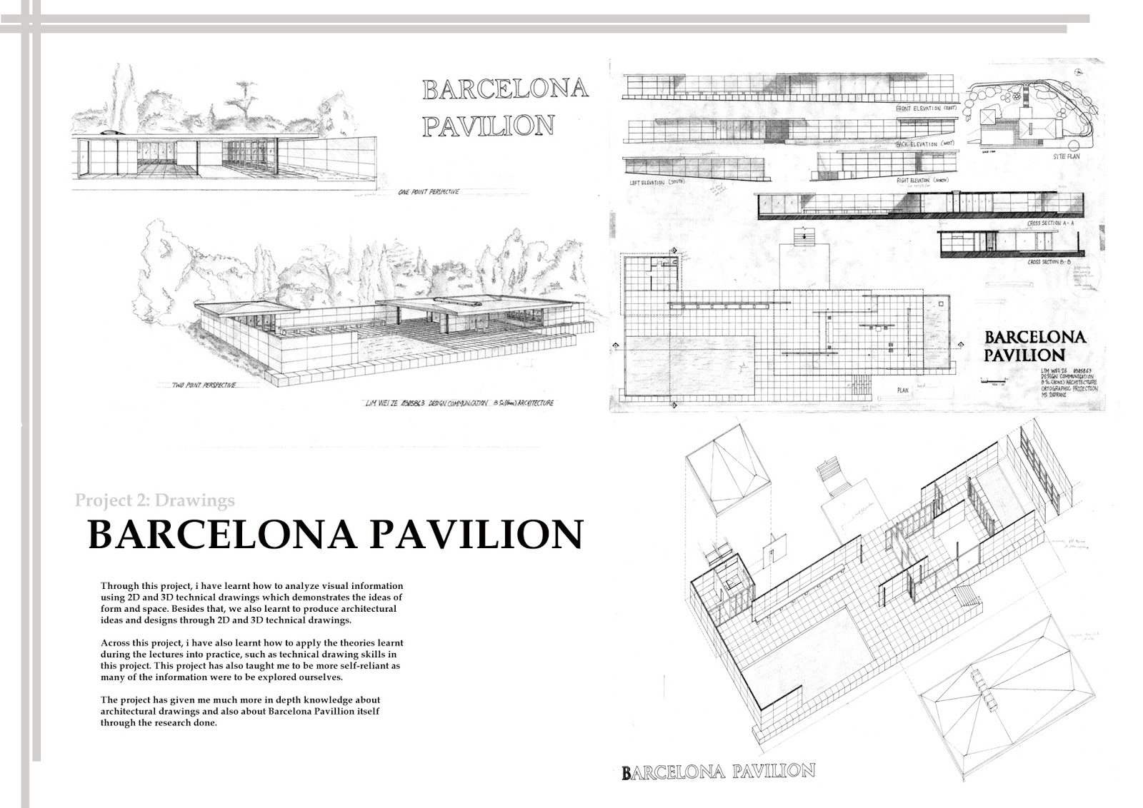 Barcelona pavilion section drawing - Barcelona Pavilion Section Drawing 20
