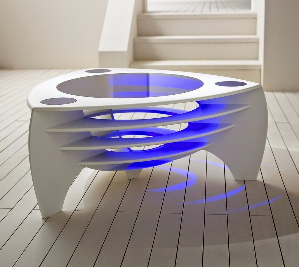 Cool Futuristic Table with Blue Light Design