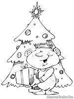 Lembar Mewarnai Anak Dan Pohon Natal