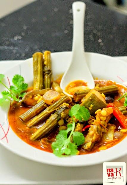 nava-kMurungakka (Drumstick) Sambar (Lentil Stew)