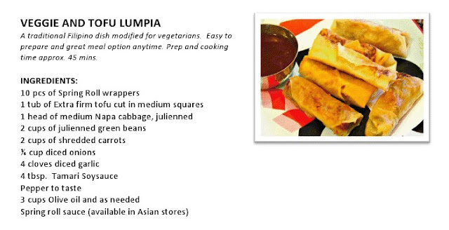 Zensible mama filipino dish veggie and tofu lumpia vegetarian recipe note for meat eaters replace tofu with chicken fillets for a non vegetarian option forumfinder Gallery