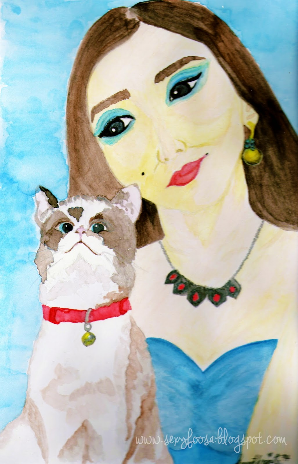 big eyes cat woman lady crazy cat lady watercolor painting free use asian
