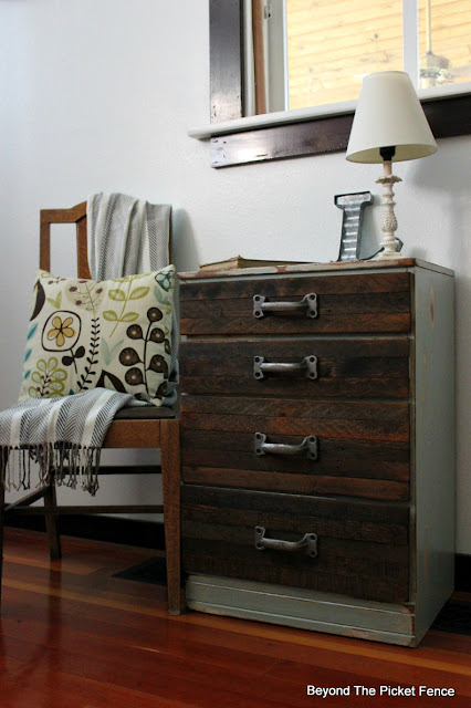 industrial, rustic, reclaimed wood, DIY, metal, dresser, salvaged wood, http://bec4-beyondthepicketfence.blogspot.com/2015/08/rustic-industrial-chest-of-drawers.html
