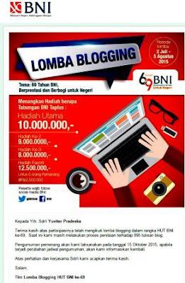 gambar pengumuman pemenang lomba blogging BNI