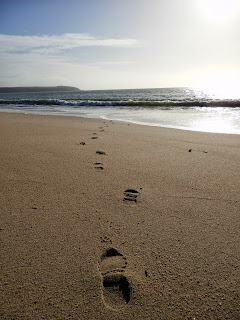 Footprints on the beach at Cornwall