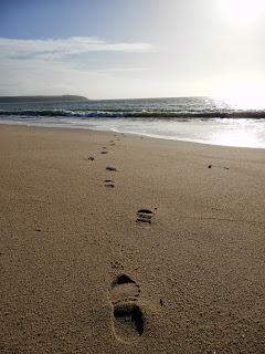 Footprints on the beach at Cornwall