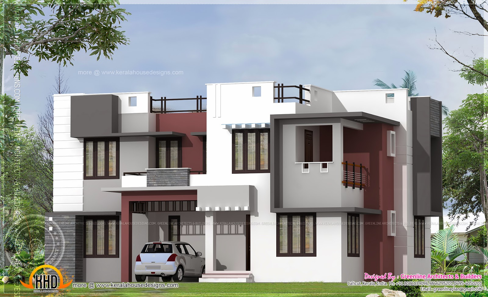 2160 square feet modern flat roof home exterior kerala for House plans for flats