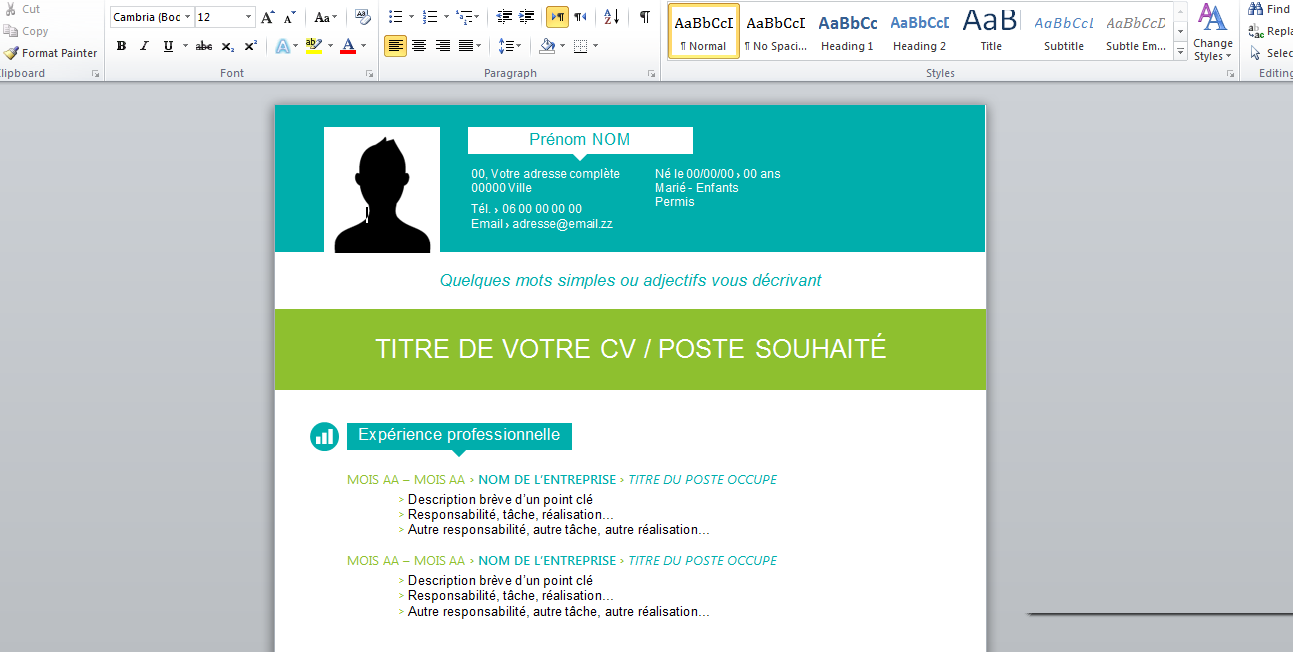 exemple cv word 2015