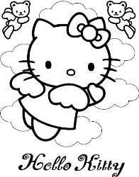 Desenhos Preto e Branco hello kitty com lindos laços Colorir