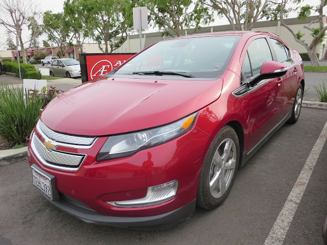 2014 Chevy Volt at body shop after collision repairs
