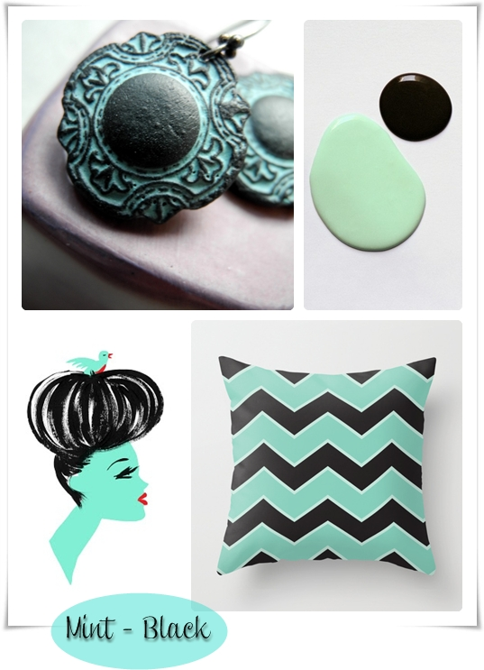 mint and black collage