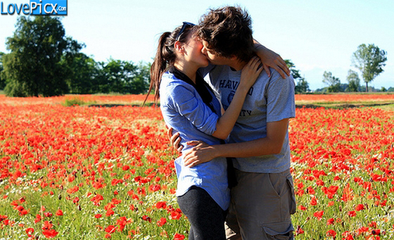 Love Couple Hug Kiss Fun Romantic Flowers