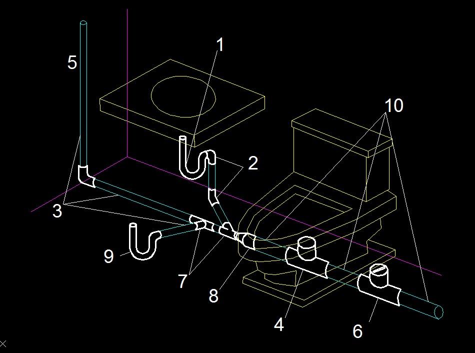Diagrama Instalacion De Regadera De Baño:ser de cobre galvanizado se usara tubería de pvc para el desagüe del