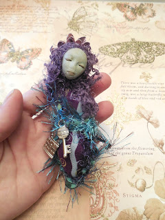 A Secret Friend - A Handmade Purple Miniature Folk Art Doll by Jeanne Fry