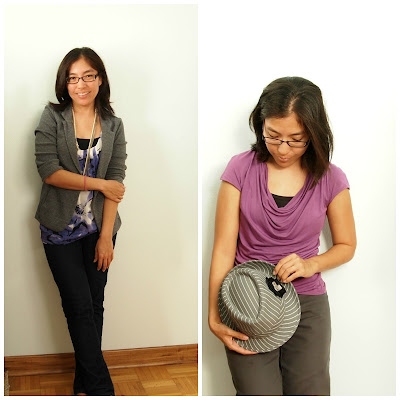 gray blazer purple top straight leg jeans teacher style trilby
