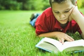 picture of young boy lying in grass reading a book