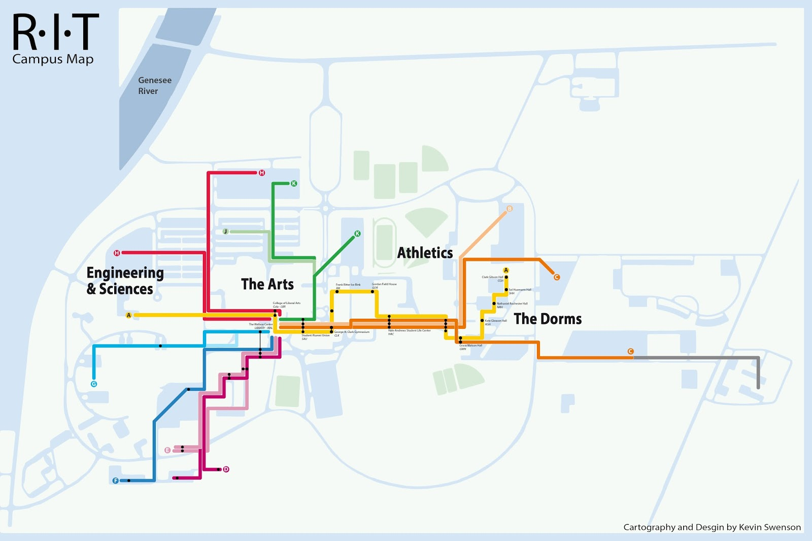 Vignelli style rit campus map routes to the wallace center from